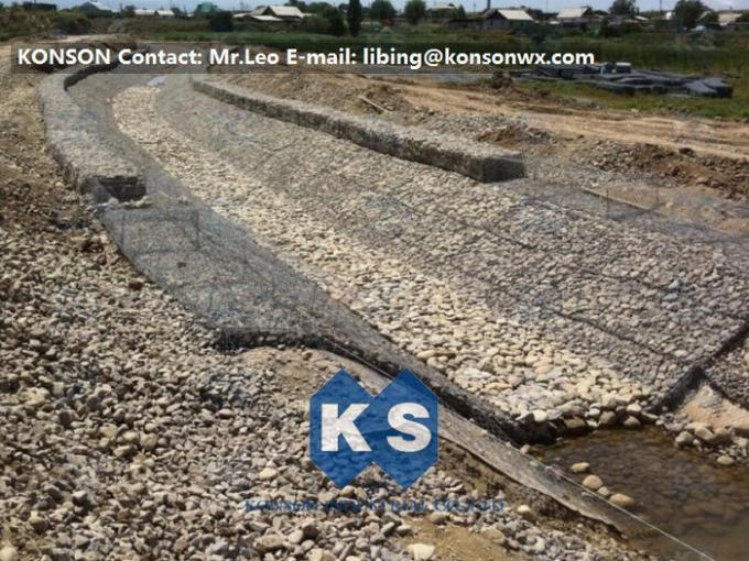 Water And Soil Erosion Preventing Gabion Boxes With Hexagonal Wire Mesh