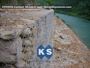 Çin Monolithic Galvanized Iron Wire Hexagonal Welded Mesh Gabions Retaining Wall Tedarikçi