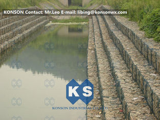 Çin Heavy Zinc Coated Gabion Basket Retaining Wall 8x12cm To Protect Riverbank Tedarikçi