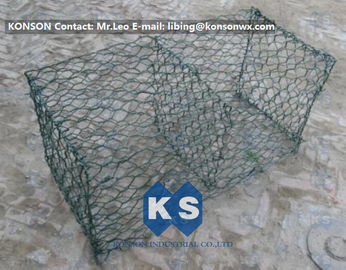 Çin Hexagonal Mesh PVC Gabions , Welded Coated Galvanized Gabion Baskets Fabrika