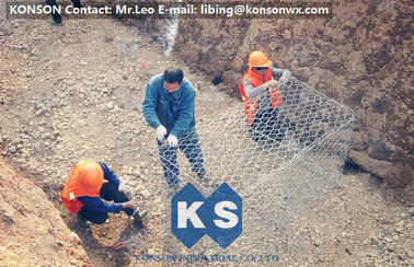 Çin Galvanized Gabion Box Of Twisted Hexagonal Wire Mesh , Galfan Coated Gabion Basket Fabrika